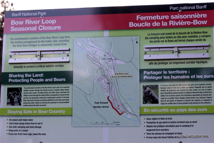 Placa com os dizeres: Bow River Loop
